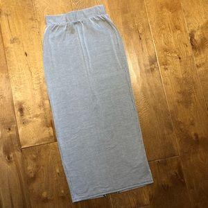 Pin Stripe Jersey Knit Midi Pencil Skirt